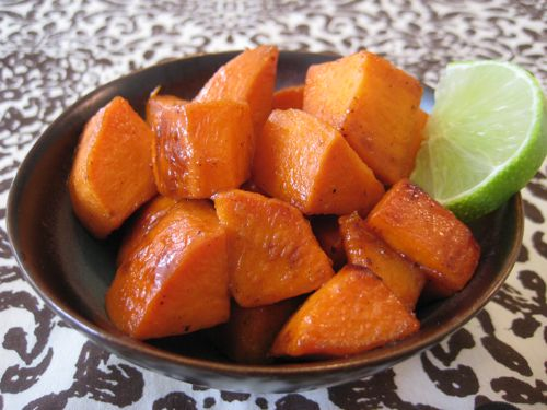 Glazed Sweet Potatoes with Maple Syrup & Lime (Makes 4 Servings)