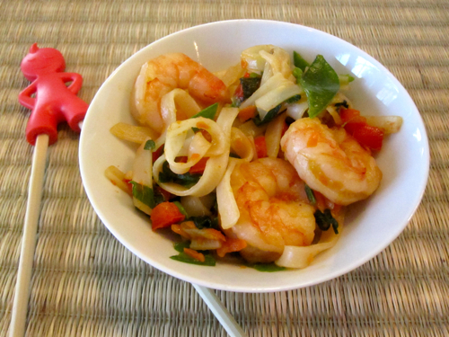 Shrimp and Rice Noodle Stir Fry
