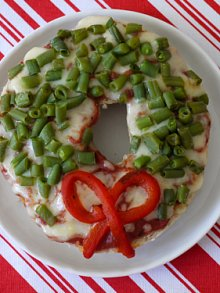 Whole Wheat Bagel Wreath Pizza