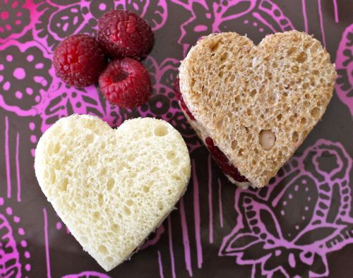 Valentine's Day School Lunch- Raspberry Mascarpone Heart Sammies