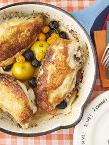 Roast Chicken with Caramelized Lemons, Cherry Tomatoes and Olives