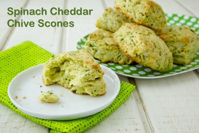 Spinach Cheddar Chive Scones and a video for how to make them !