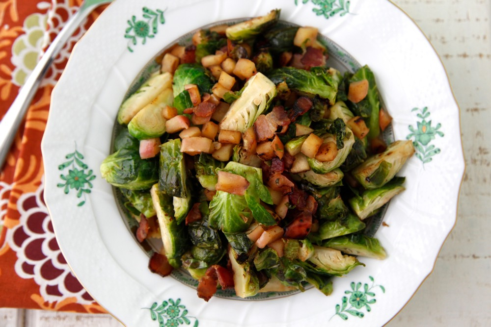 Sauteed Brussels Sprouts with Bacon ( makes 4 servings )
