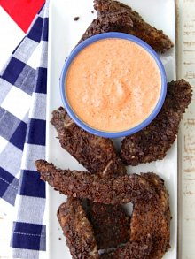 Blue Corn Chip Crusted Fish Sticks with Red Pepper Coulis