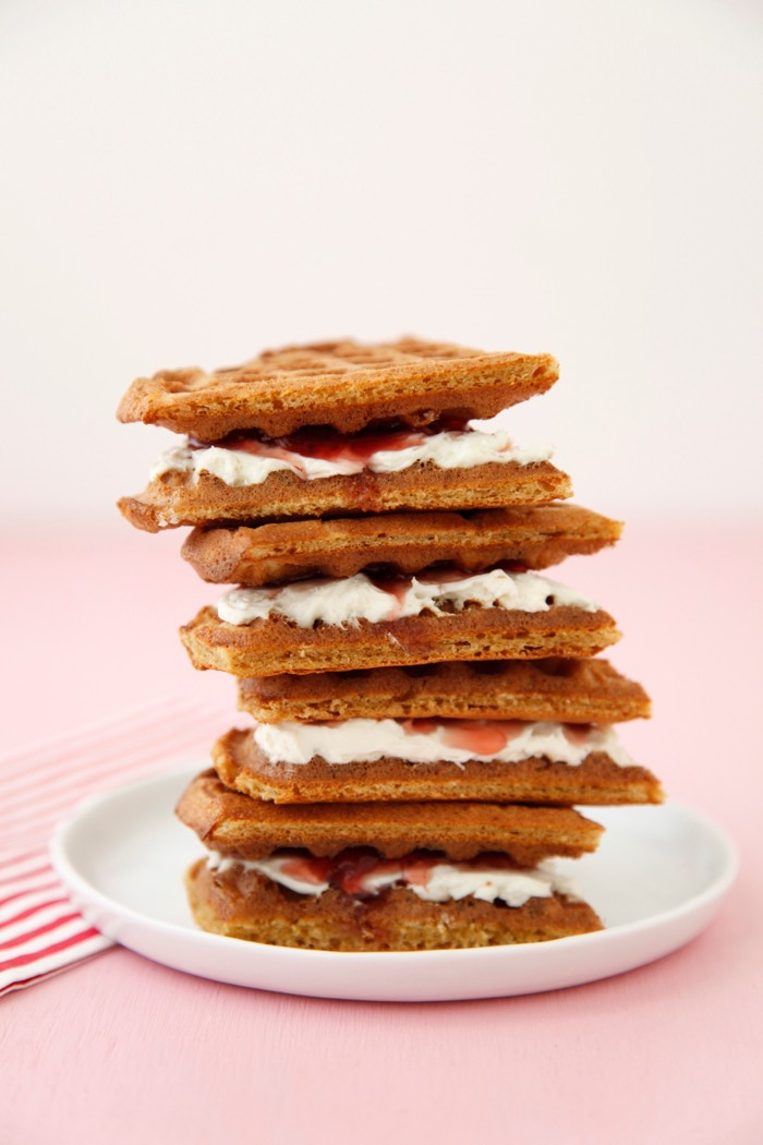 Strawberry Cream Cheese Waffle Sandwiches from Weelicious