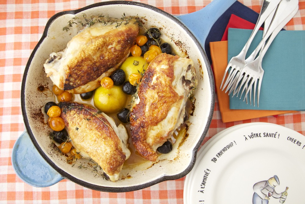 Roast Chicken with Caramelized Lemons, Cherry Tomatoes, and Olives
