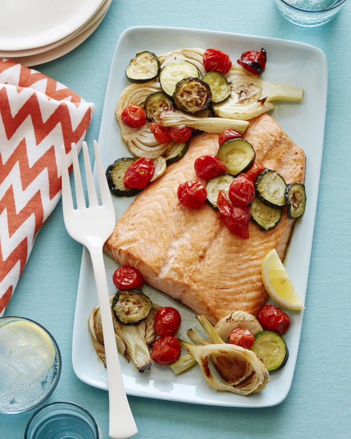 Salmon Sheet Pan Dinner recipe from weelicious.com