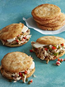 Arepas with Poblano Pulled Chicken