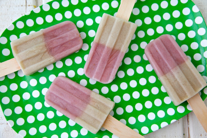 Strawberry Banana Almond Milk Ice Pops from weelicious.com