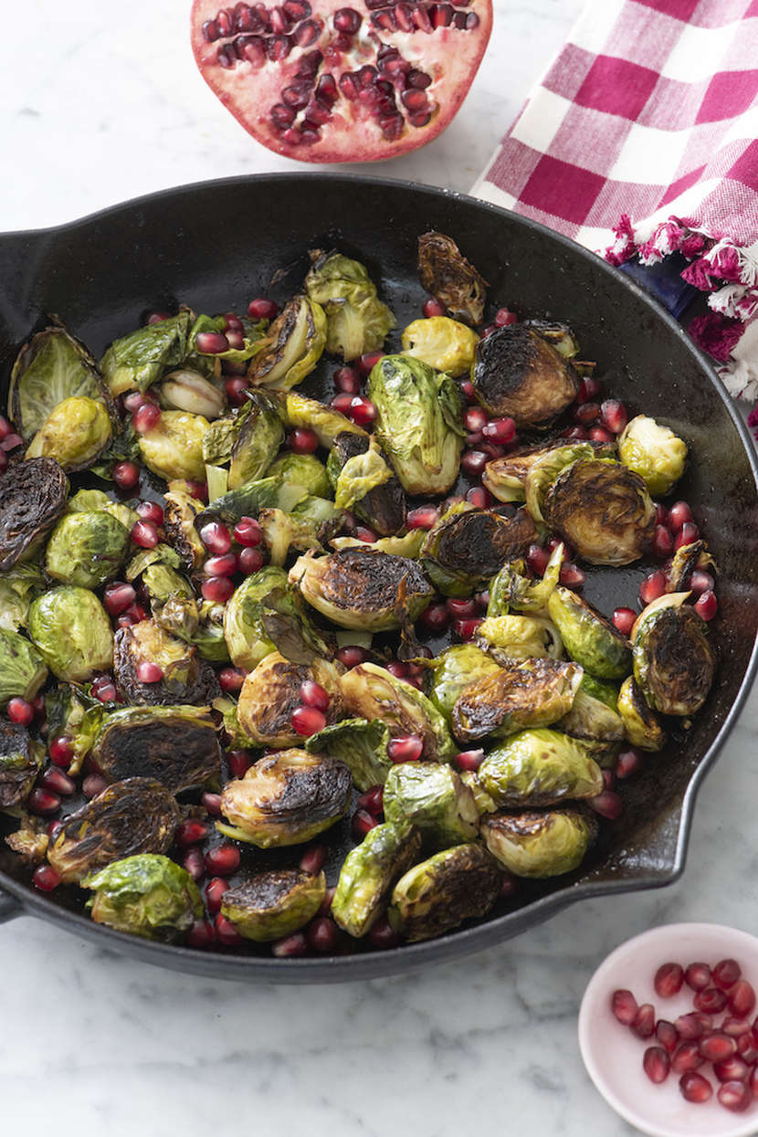 Cast Iron Brussels Sprouts with Pomegranate and Garlic from Weelicious.com