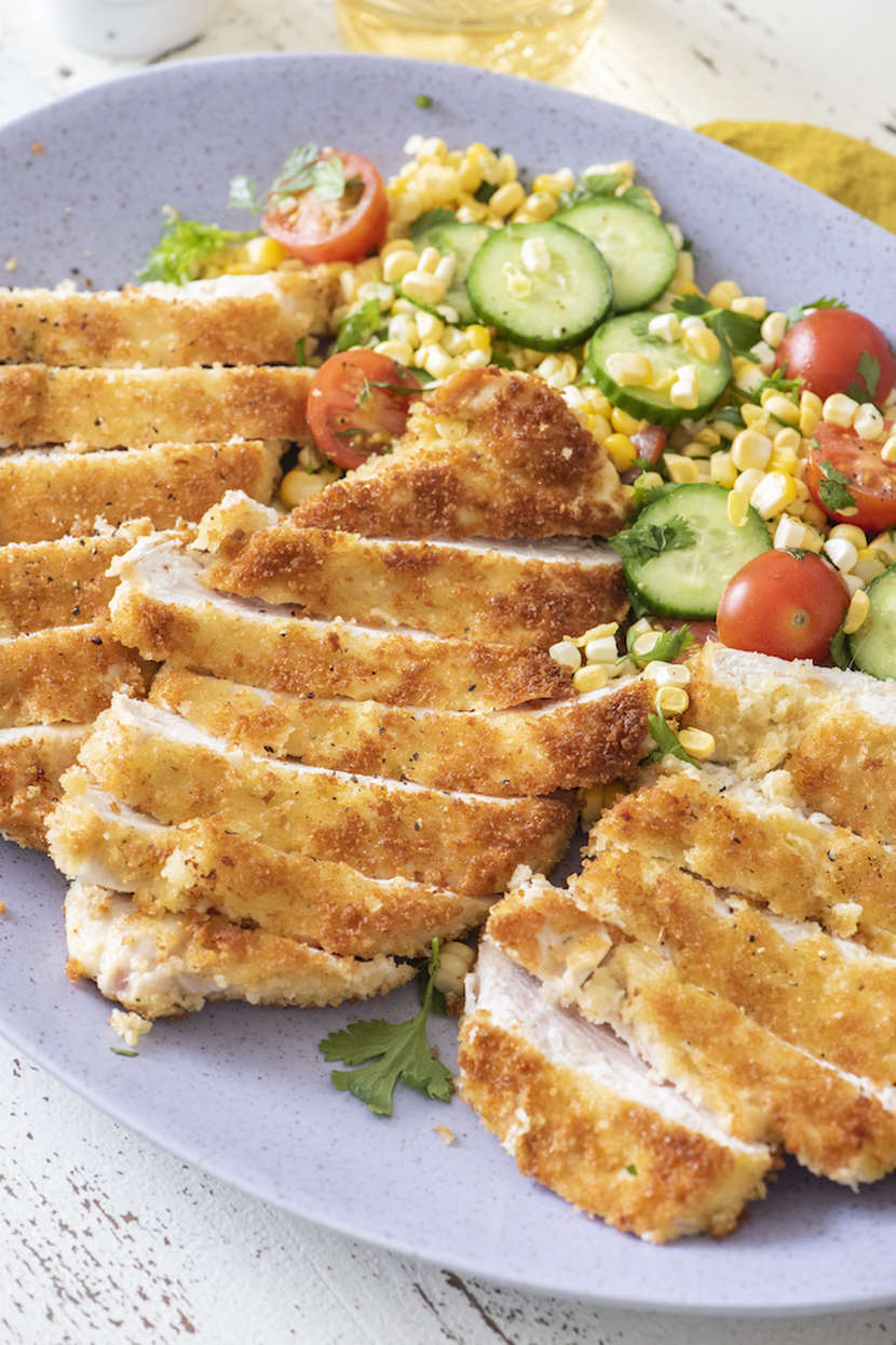 Chicken Paillard With Summer Salad Weelicious