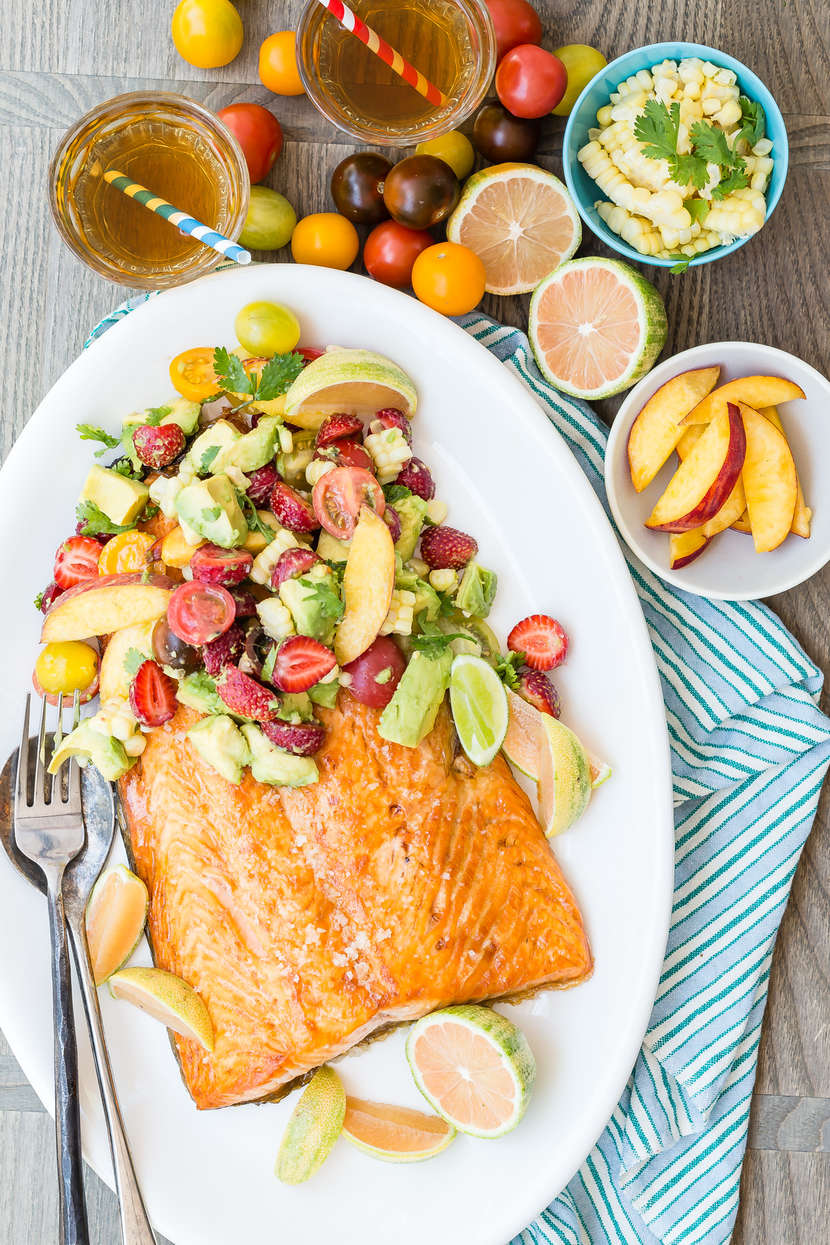 Broiled Salmon With Summer Fruit Salad