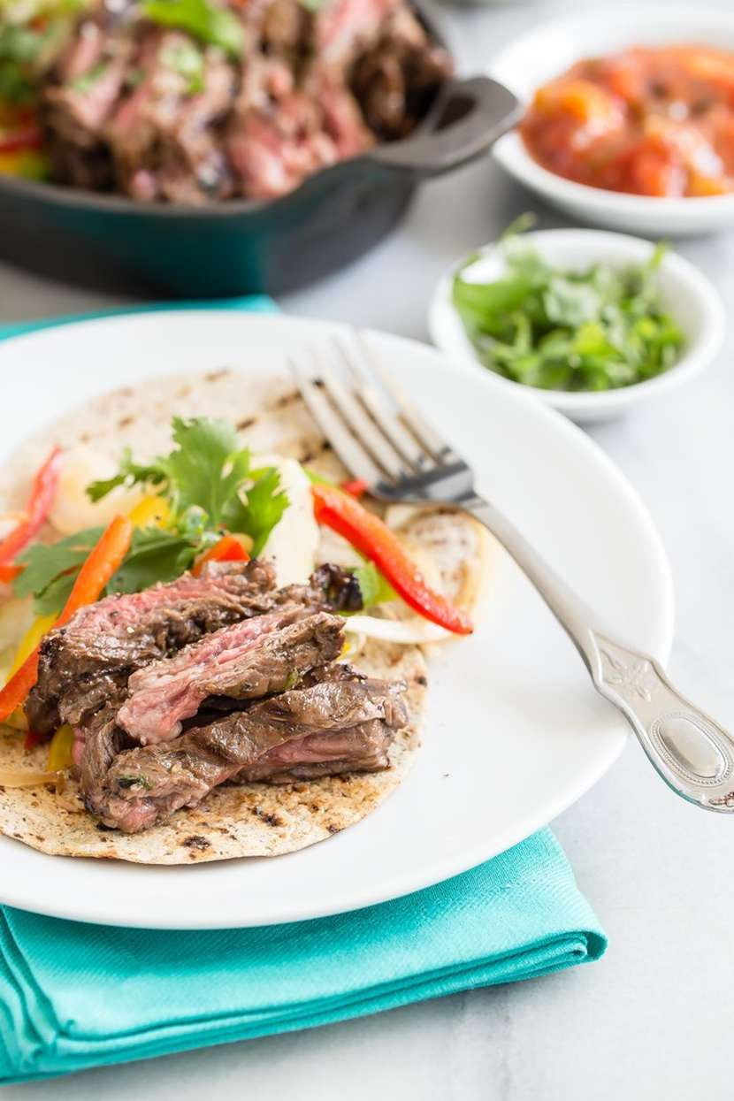 Skirt Steak Fajitas recipe + video from weelicious.com