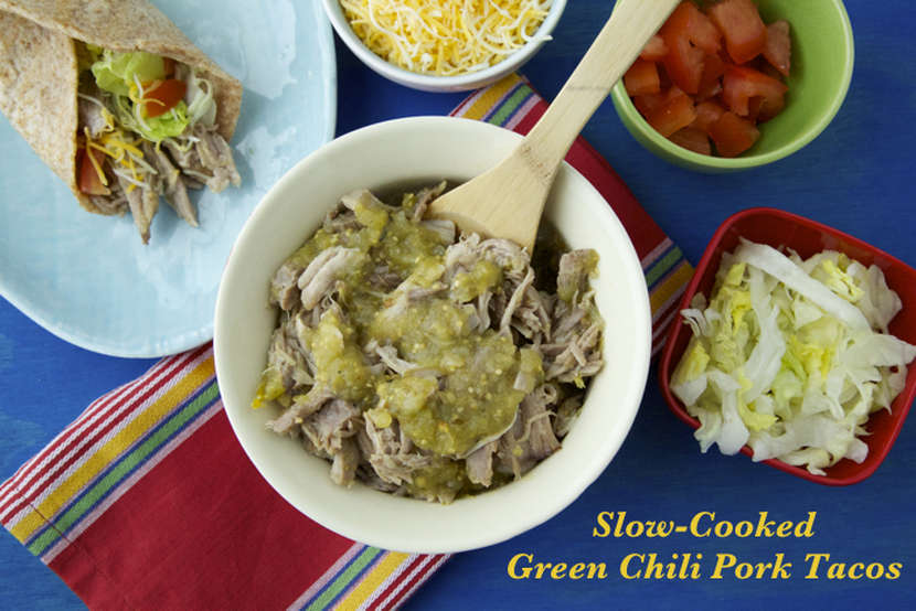 Slow Cooked Green Chili Pork Tacos
