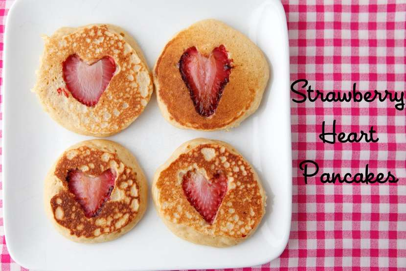 Valentine Strawberry Heart Pancakes from Weelicious
