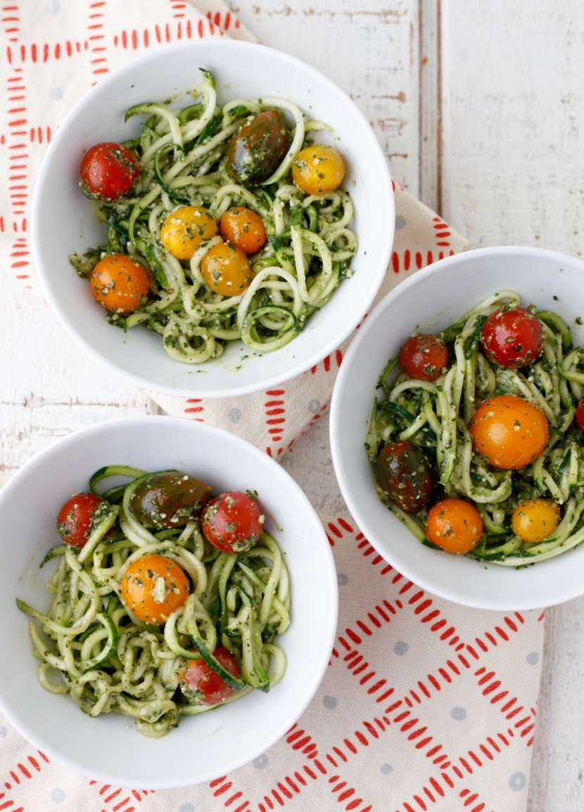 Pesto Spaghetti with Cherry Tomatoes + Inspiralized Giveaway from weelicious.com