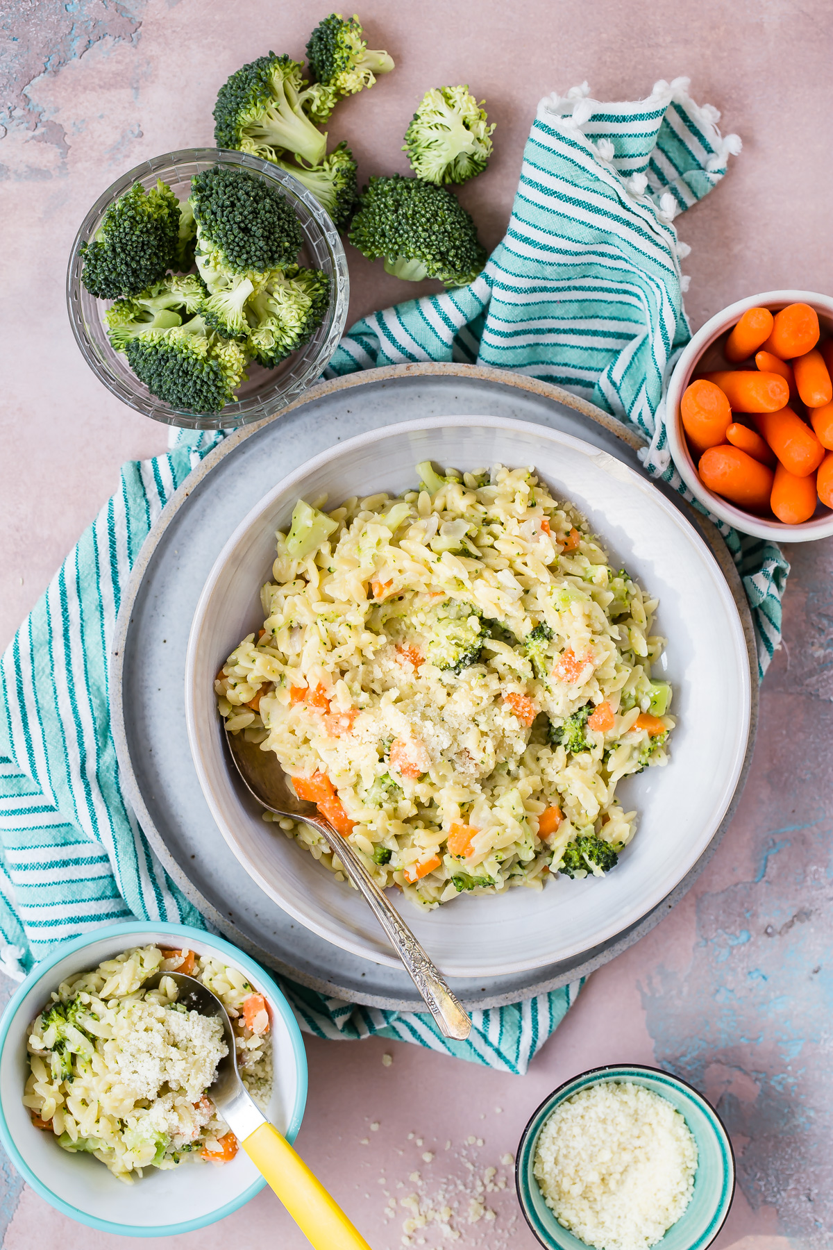 Carrot Broccoli Cheese Orzo recipe from Weelicious.com