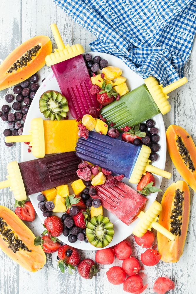 Rainbow Fruit Popsicles from Weelicious.com