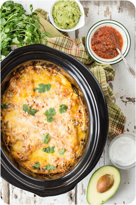 Crock Pot Mexican Tortilla Lasagna from weelicious.com