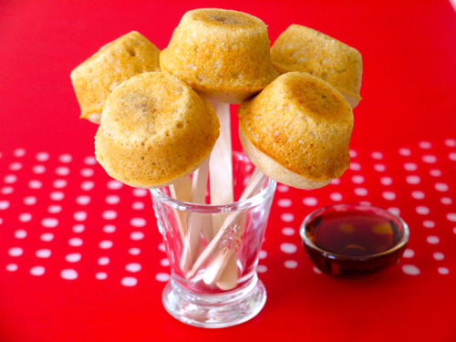 Pancake sausage muffins on a stick weelicious im one of those people who believes that everything tastes better on a stick be it popsicles chicken on a stick peas in a poperes just something ccuart Choice Image
