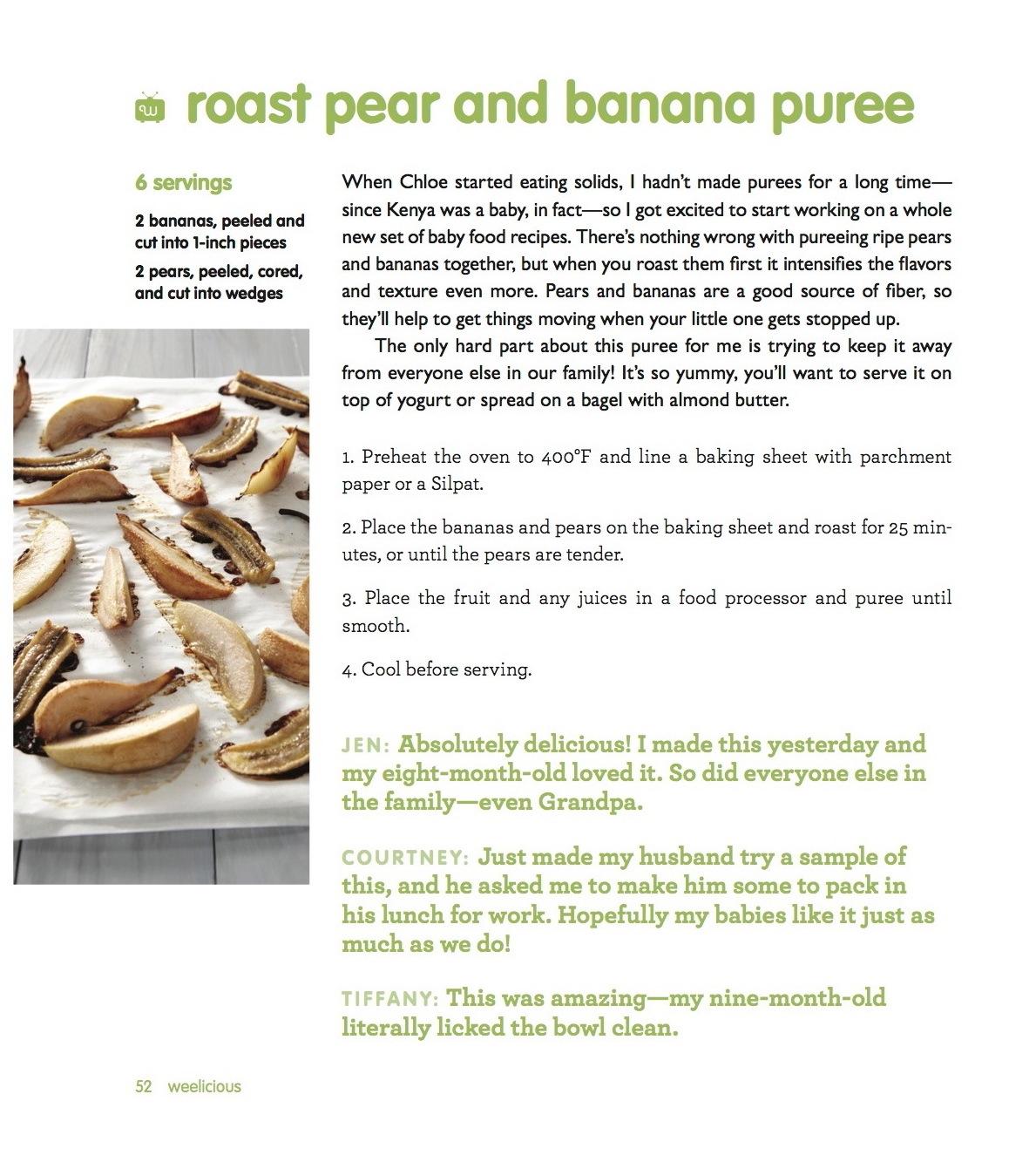 Weelicious Roast Pear and Banana Puree
