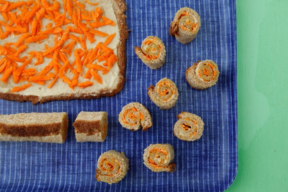 Carrot Hummus Sushi Sandwiches 3