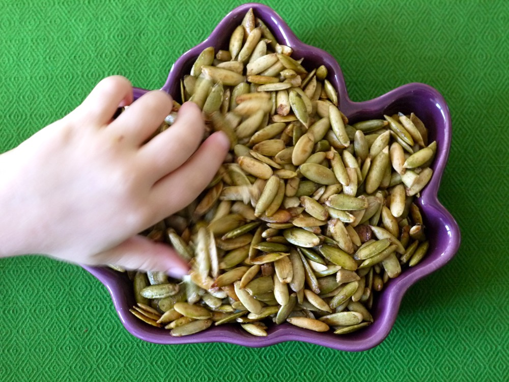 Maple Roast Pumpkin Seeds from Weelicious