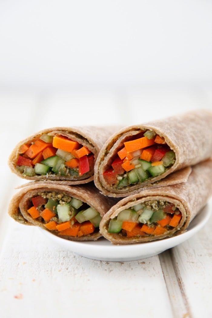 Vegetarian Pesto Wraps from Weelicious