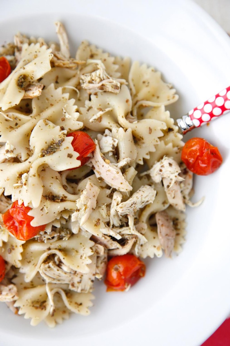 Pesto Pasta with Roast Chicken and Cherry Tomatoes from Weelicious