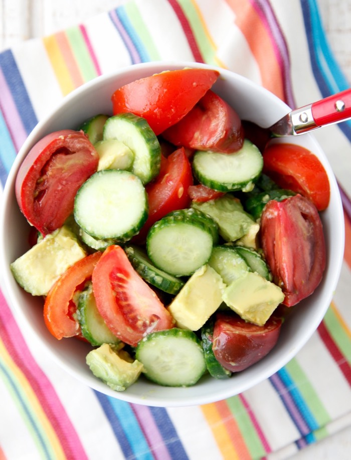 Avocado Cucumber Tomato Salad from weelicious.com