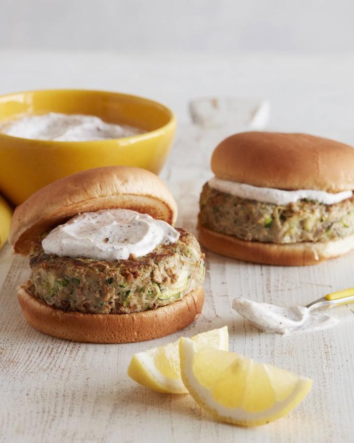 Turkey Zucchini Burgers with Yogurt Sumac Sauce recipe from weelicious.com