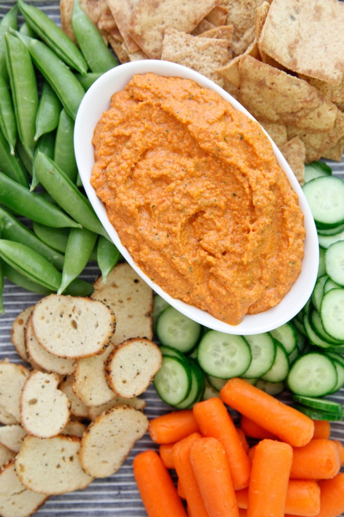 Roasted Red Pepper Almond Dip recipe from weelicious.com