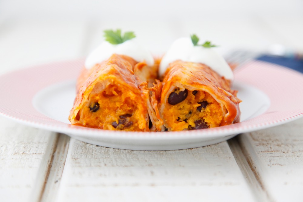 Sweet Potato Black Bean Enchiladas recipe from weelicious.com